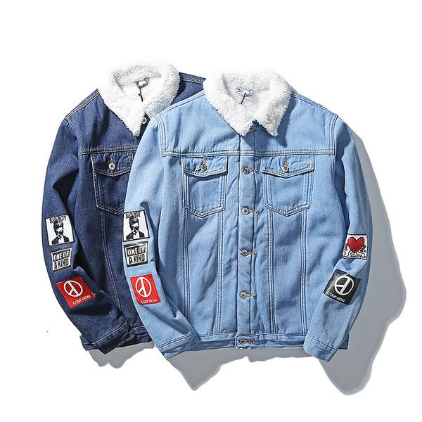 Wholesale- Men 's Cotton Wool Liner Velvet Warm Denim jackets 2016 New Male Fashion Outerwear Coats Large size Denim jackets