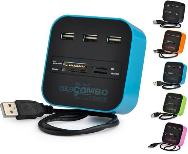 USB 2.0 Hub Combo All In One Multi-card Reader With 3 Ports For MMC/M2/MS Blue Color Wholesale DHL Free OTH225