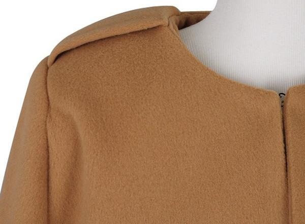 Großhandel Kostenloser Versand Wunderschöne Kamel Farbe WOLLE Kaschmir Mantel Cape Jacke Mod MILITARY Swing Sleeveless Minimalist Coat Für Frauen Von