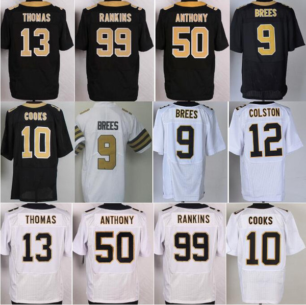 size 40 e07c4 a7d97 2018 Football 13 Michael Thomas Jerseys 99 Sheldon Rankins 9 Drew Brees  Jersey 10 Brandin Cooks 50 Stephone Anthony Color Rush White Black From ...