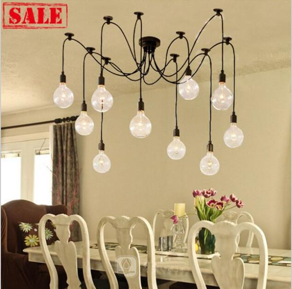 Retro classico DIY RH Designer Loft Americano Edison Vintage lampada lampadario a soffitto E27 LED lampada ragno pendente gruppo casa abajur