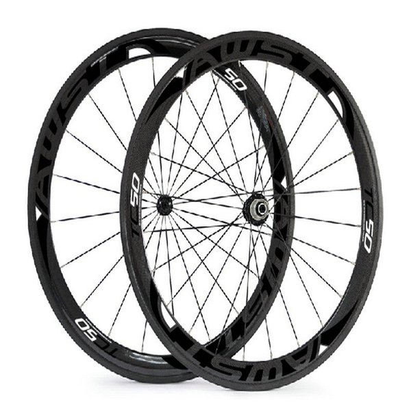 Free shipping 2017 50mm black 3k Twill road carbon bike wheels set clincher 700C with ceramic bearing hubs bicycle wheels in stock