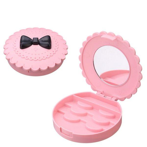 New Flower Lovely False Eyelash Storage Box Makeup Cosmetic With Mirror Case Organizer Bownot Beauty Comestics Tool Plastic LZ0232