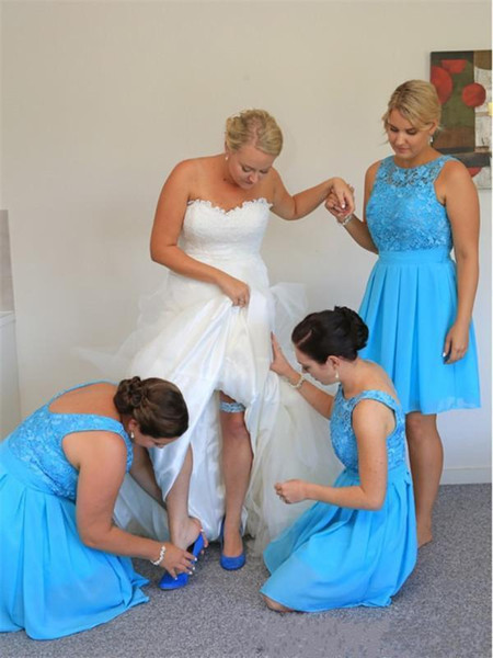 2016 New Turquoise Bridesmaid Dresses Scoop Neck Lace Appliques Chiffon  Knee Length Plus Size Cheap Party Dress Junior Maid Of Honor Gowns Latest  ...