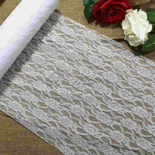12''x24yard Lace Tulle Roll Spool Table Runner Fabric for Wedding Event Party Favor Gift Decoration Product Supply