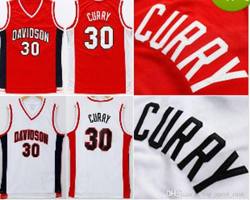 ayacr Davidson Wildcats 30 Stephen Curry College Jerseys Red White Men