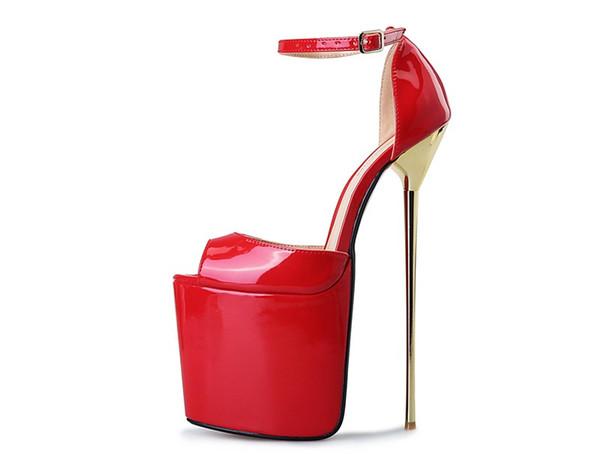 Plus Size 40-50 22cm Super High Heel Women Shoes Peep Toe Patent Leather Women Sandals Platform Buckle Reid Bottom Wedding Shoes