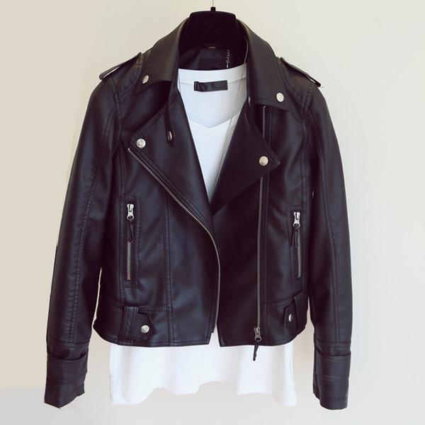 Chaqueta de cuero al por mayor-Más tamaño Mujer Jaqueta De Couro Feminina Corto Pu chaqueta de cuero Negro Tamaño grande Ropa de mujer
