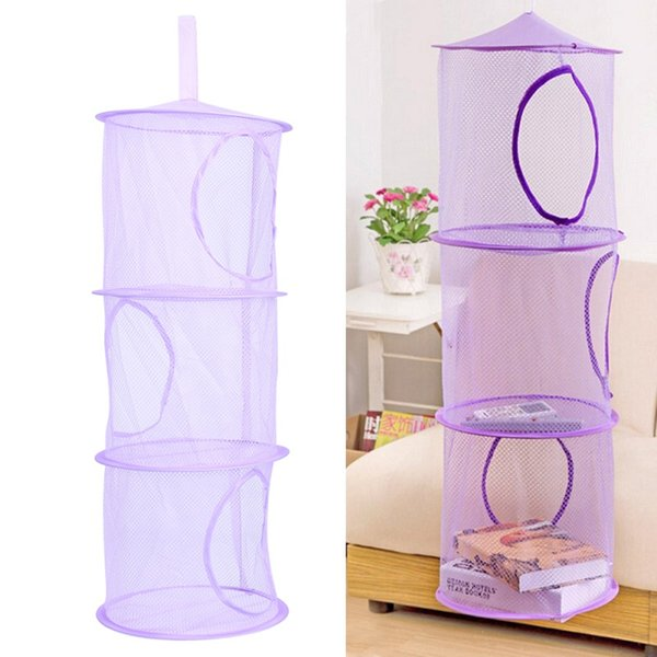 Wholesale- Hot 75cm x 26cm 3 Shelf Hanging Storage Net Kids Toy Organizer Bag Bedroom Wall Door Closet Organizers Basket for Toys