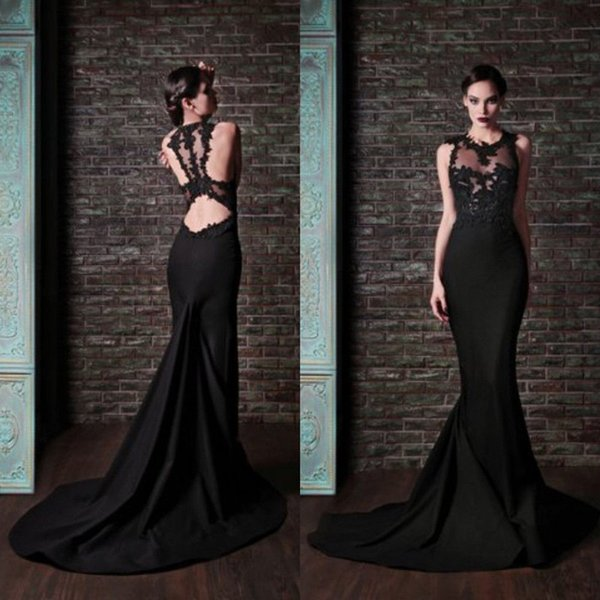 Hot Sale Fashion Sheer Mermaid Formal Prom Dresses Sexy Elegant Black Appliques Sleeveless O-Neck Court Train 2016 Summer HJ02 Evening Gowns