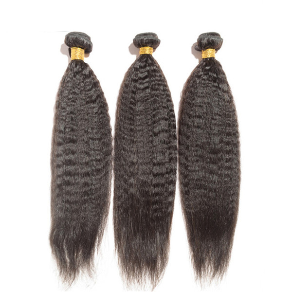 8A High Quality Peruvian Kinky Straight Unprocessed Human Hair Extensions 8-30inch Natural Black Color Soft Full Dyeable 3pcs/lot DHL