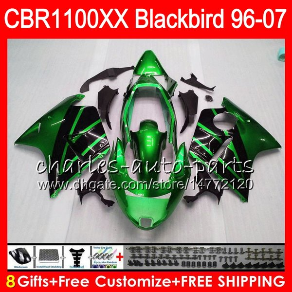 Body For HONDA Blackbird green black CBR1100 XX CBR1100XX 02 03 04 05 06 07 81NO64 CBR 1100 XX 1100XX 2002 2003 2004 2005 2006 2007 Fairing