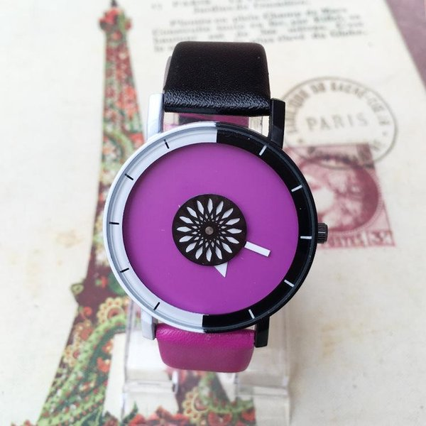 Couples watch 9 colors Leather quartz watches Candy color Students watch For Christmas birthday gifts Free DHL Fedex UPS