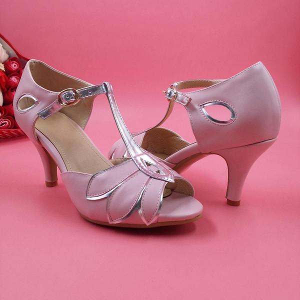 Chaussures De Mariée Rose T-Sangles Faux En Cuir De Mariage Partie De Danse Chaussures Chaton Talons Femmes Sandales Sur Mesure Chaussures De Mariée Demoiselle D'honneur De Chaussure