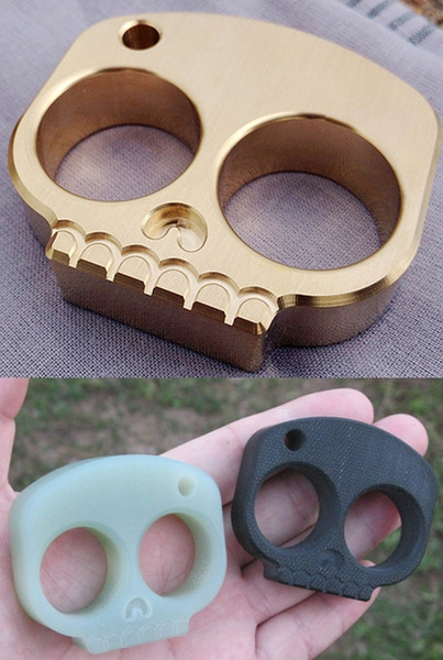 Brass / G10 Epoxy Skull Style Two Finger Knuckle Duster Paper 56mm*49mm*14mm Weight 176g with 23mm Finger Diameter for EDC Self Defense