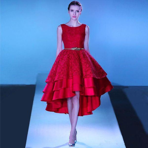Großhandel Elie Saab Red Lace Hallo Low Prom Kleider Tiered A Linie ...