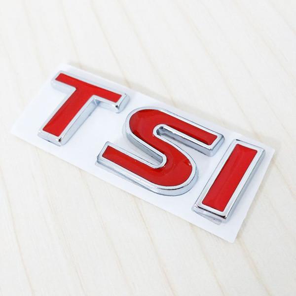 Wholesale New 3D Metal RED TSI 2.0T Car Tail Emblem Badge Sticker Logo Decal Car Styling for VW Golf Sagitar POLO Lavida Passat Magotan