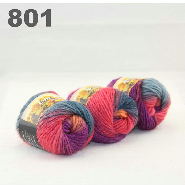 best selling colorful hand-knitted wool line segment dyed coarse lines fancy knitting hats scarves thick line Bisque Orange Purple Turquoise 522-801