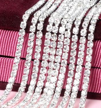 free shipping 10yards Full drill 2.5 mm color crystal Intensive diamond chain DIY Bling materials encryption claw chain decoration essential