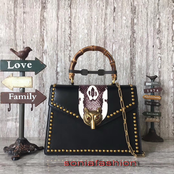 New style hot fashion women bag genuine leather bamboo handle and chain long strap women shoulder bag with rivet free shipping