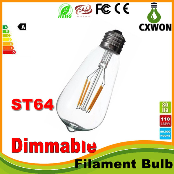 Super bright dimmable e27 t64 edi on tyle vintage retro cob led filament light bulb lamp warm white 85 265v retro led filament bulb