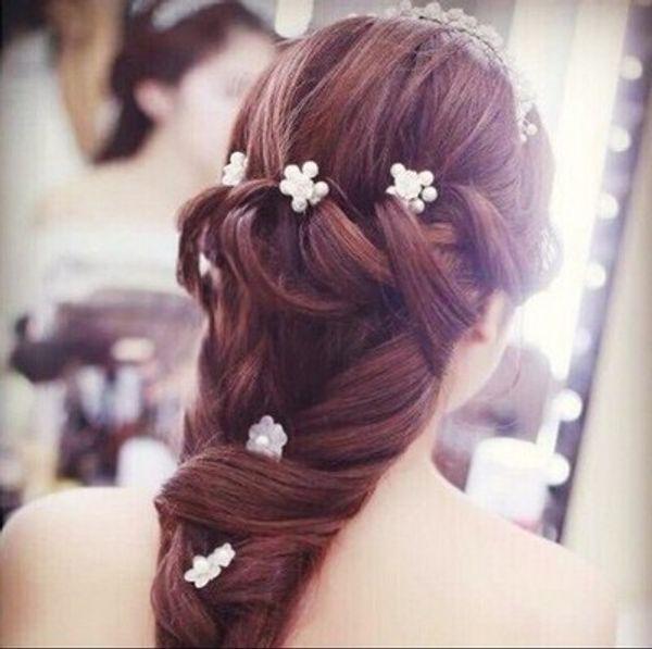 Wedding Bridal Bridesmaid Handmade Pearl Soft Ceramics Hair band 6pc/lot Wreath Headdress Pearl Hairpin Hair Jewelry Accessories