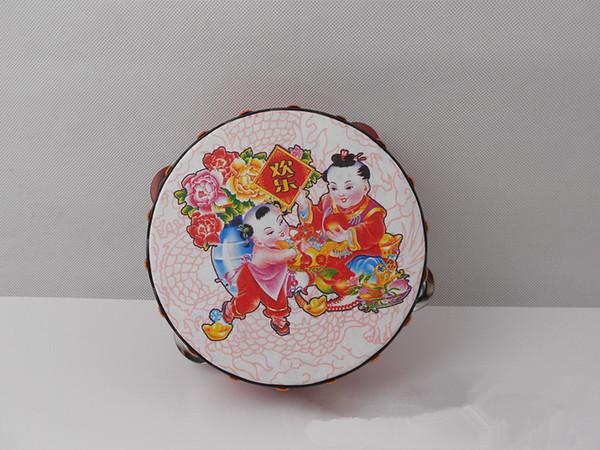 best selling New Musical Tambourine Tamborine Drum Round Percussion Gift for KTV Party Drumhead 16cm with Steel Wipes Wooden Ring