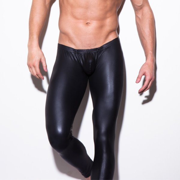 Wholesale-2016 XL man brand show stage performance trouses tight elastic pants gay black PU leather long Toning Leggings pole dance