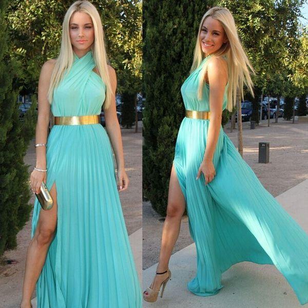 Blue Halter Neck Party Dresses Sleeveless Sexy Side Split Ruffles Zipper Chiffon Long Prom Dresses Cheap A Line Floor Length Evening Dresses