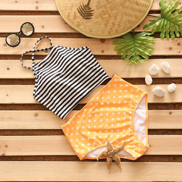 2017 Bikini Stripe Halter Women Swimsuit Bandage Swimwear Print Cross Bikini Set High Waist Bathing Suit Swim Wear