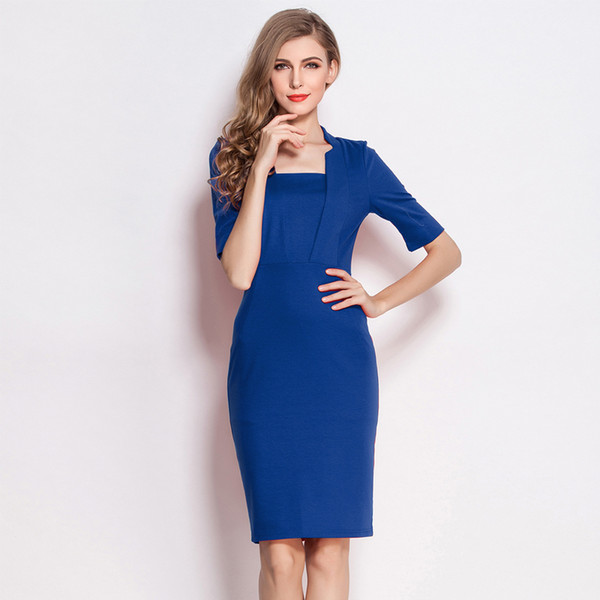 2016 Spring and Autumn Half sleeved OL Bodycon Dress Slim Empire Stand Collar Princess Kate Same Pencil Dress Blue and Red