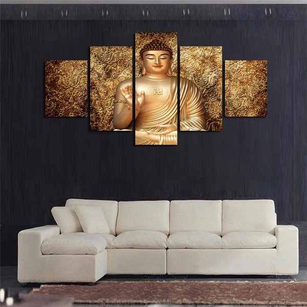 New Golden Buddha Zen Oil Painting 5 Pcs/set Canvas Print Room Poster Picture For Home Wall Decor No Frame