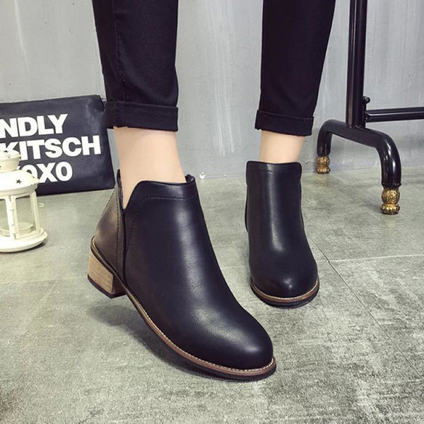 Leather boots for women Martin Europe ladies ankle boots woman shoes Matte rough with womens booties wholesale Autumn Boots