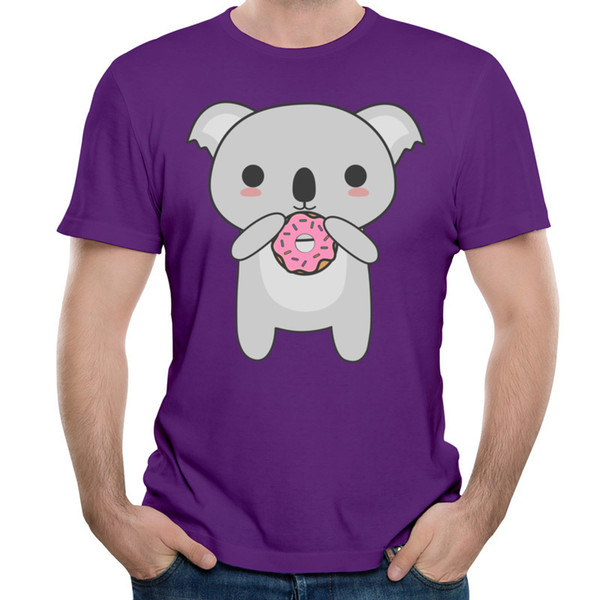Discounted 100% cotton t-shirt mens formal short sleeve tshirts pet printed teenage boy's crew-neck tops Kawaii Koala Eating A Donut
