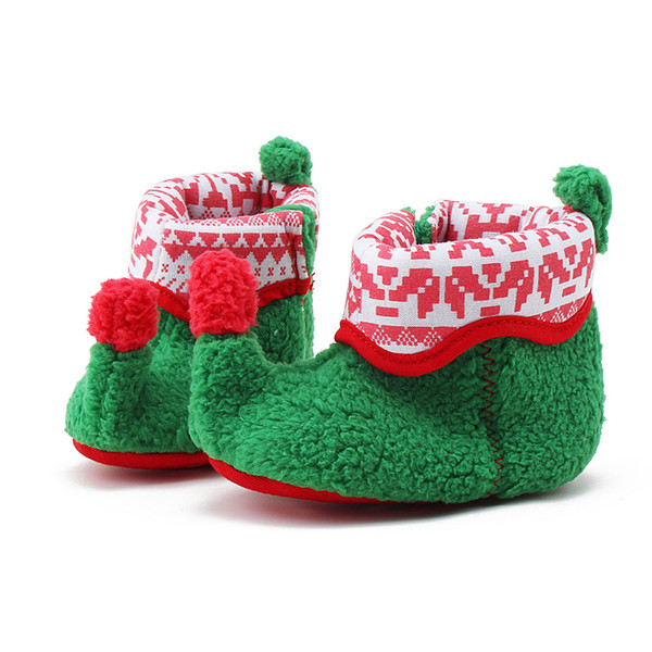 Wholesale- 2017 New Arrival Christmas Design Baby Shoes Unique Warm Red And Green Color Baby Boots Wholesale Pure Cotton Boots