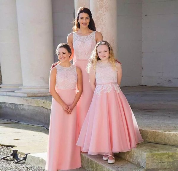 Pink Flower Girl Dresses With White Lace Latest Design A Line Satin ...