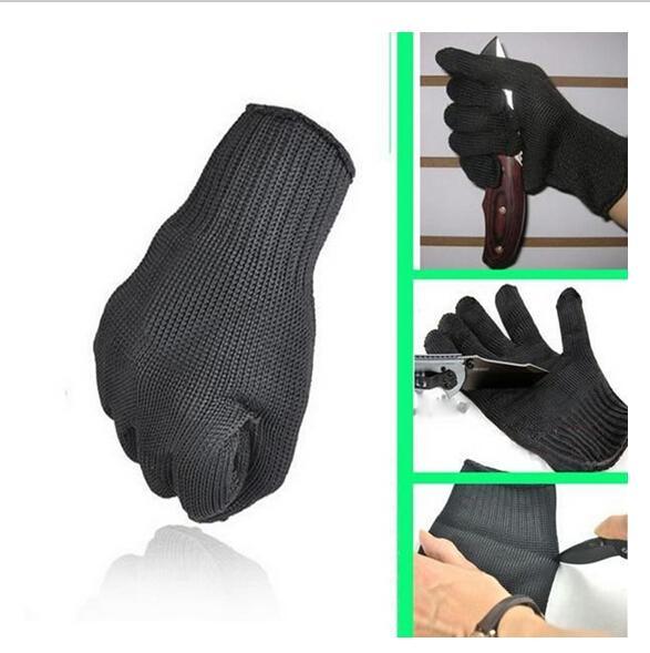 1 paire de gants de protection contre les gants de sécurité en fil d'acier inoxydable taillé maille métallique de boucher anti-coupe respirant gants de travail