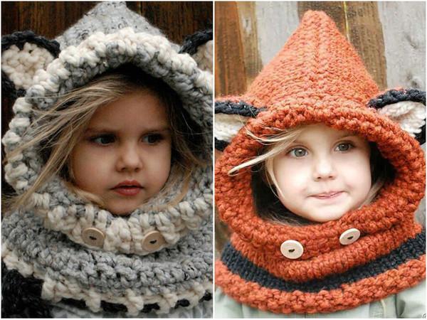 2 unids Childlren zorro collar de bufanda establece sombreros de ganchillo de invierno a prueba de viento sombreros niños de lana de punto casquillo sombreros de los niños sombrero suave sombrero caliente