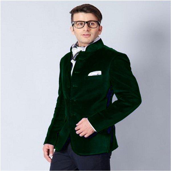 Velvet Men Suit Jacket Dark Green Men Suit Wedding Prom Mens Suits Slim Groom Groomsmen Tuxedos Fashion Wedding Suits For Men (Jacket+Pants)