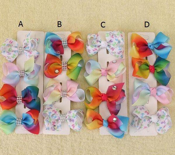 20 pcs Xmas Romantic jojo 7cm Pastel flora ombre Rainbow ribbon hair bows Alligator clips baby girl Dance hair bobbles Accessories HD3479