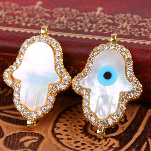 2017 Hot Sale Brand New Hamsa Hand Evil Eye Shell Brass Jewelry Connectors 5pcs a lot