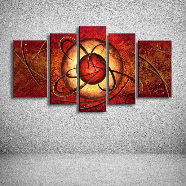 Hand Painted Canvas Oil Paintings Modern Home Decor Wall Art Colorful Graffiti Line Sun Acrylic Picture 5 Panel Painting Bedroom