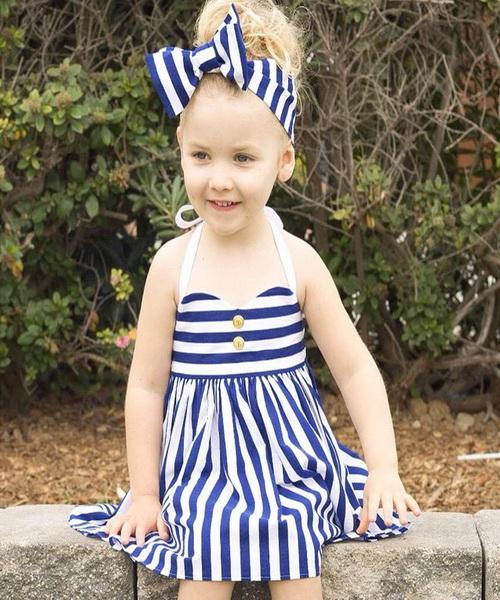 Kids Dress Girls Clothes Babies Dresses 2016 Summer Wear New Children Condole Belt Dress Girls Naval Stripe Dress