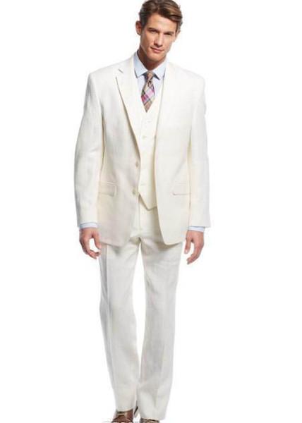 O projeto o mais atrasado feito sob encomenda do marfim do noivo do smoking considerou ternos formais o negócio entalhado lapela do negócio do blazer veste ternos do Groomsman (revestimento + calças + colete)