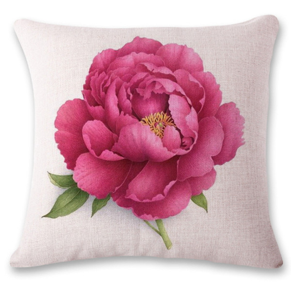 Square Pillowcase Flower Pattern Printed Decorative Ornament Gift Home Decor Throw Sofa Christmas Decoration Cushion Cover Pillow Case
