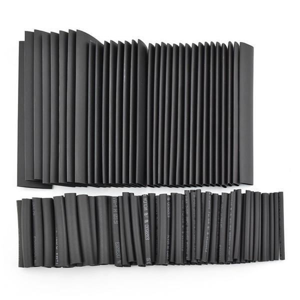 Black 150pcs 8 Sizes Assortment Heat Shrinkable Tube Shrink Tubing 1.0-13.0mm Sleeving Wrap Wire Cable Kit