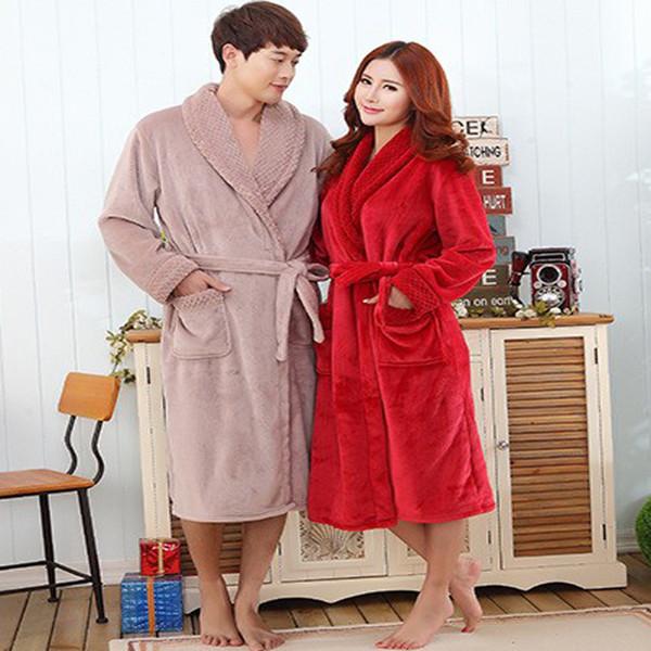2018 Wholesale Couple Flannel Bathrobes Autumn Winter Dressing Gowns ...