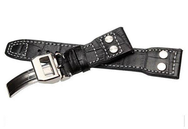 Bracelet de montre en cuir noir pour homme Bracelet de montre 22mm (boucle 18mm) Bracelet de montre bracelet en acier inoxydable Fermoir déployant
