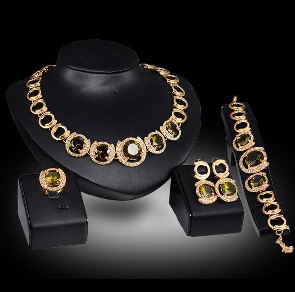 Luxury Bridal Jewelry Wedding Necklace Earrings Bracelet Ring Set