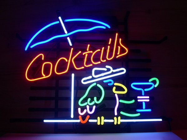 neon sign COCKTAIL PARROT COCKTAILS Glass tube Christmas GIFT FAST BLUE real glass tube light handmade bar beer club in the wall game room